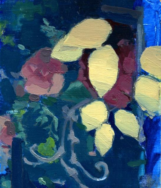 "Cut Scene (Blue) 7"" x 6"" Oil on Panel 2017"