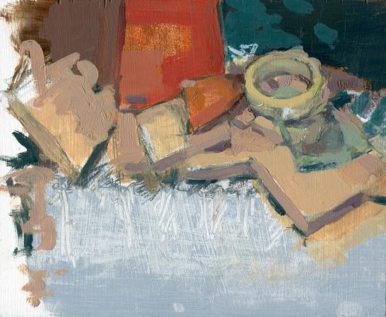 "Cut Scene 7.5"" x 9"" Oil on Panel 2-17"